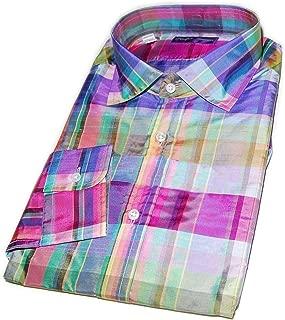 Polo Purple Label Mens Silk Dress Shirt Italy Pink Blue Green Plaid