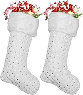 DegGod 2 Pack Snowy White Christmas Stockings with Faux Fur Cuff, Plush 22 inches Xmas Stocking with White Sequin Hanging ...