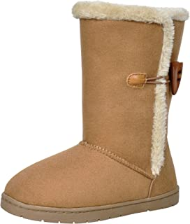 HOMEHOT Girls Winter Boots Warm Faux Fur Winter Snow Boot Non-Slip with Horn Buckle for Little/Big Kid