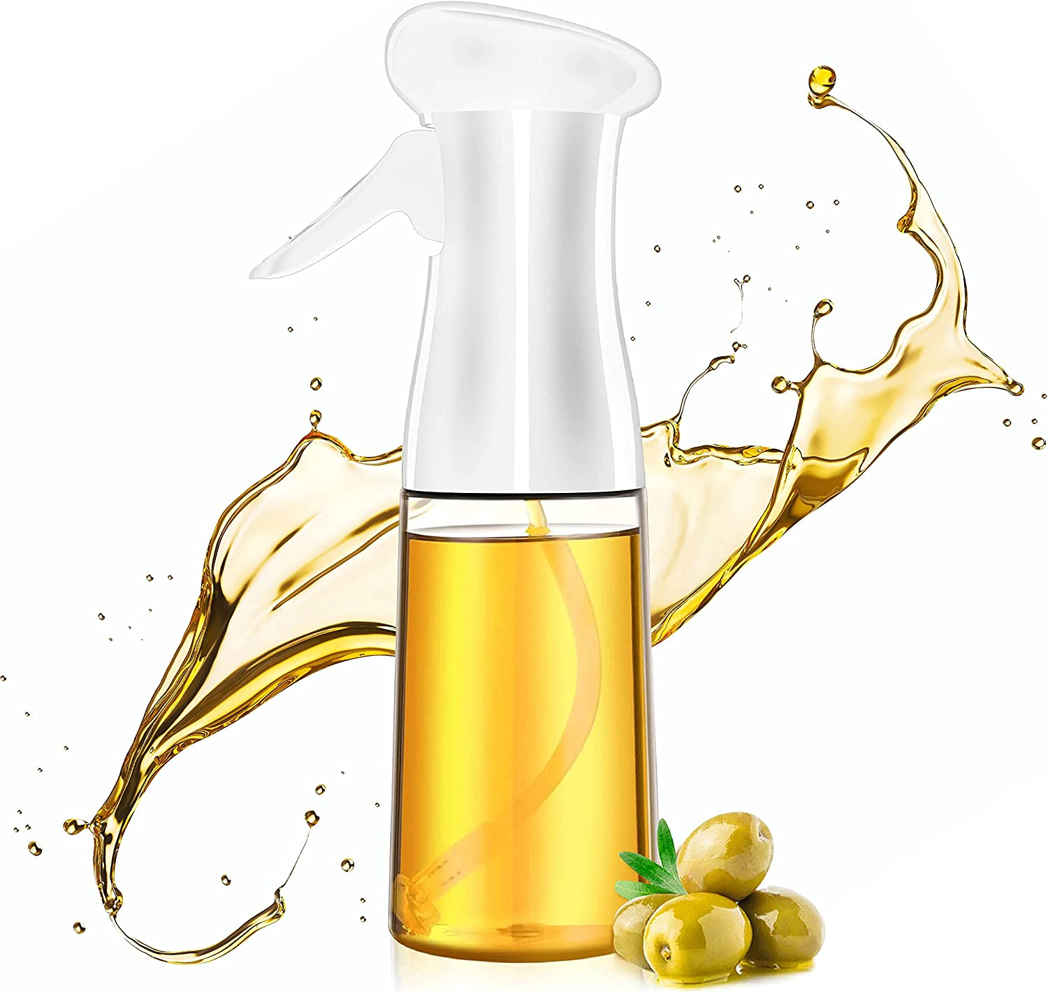 Oil Sprayer for Cooking - Non Clogging Oil cooking spray- 210ml Olive Oil Mister for air fryer- Dishwasher safe spritzer - Kitchen Plastic Spray Bottle - Great for BBQ, frying, and salads