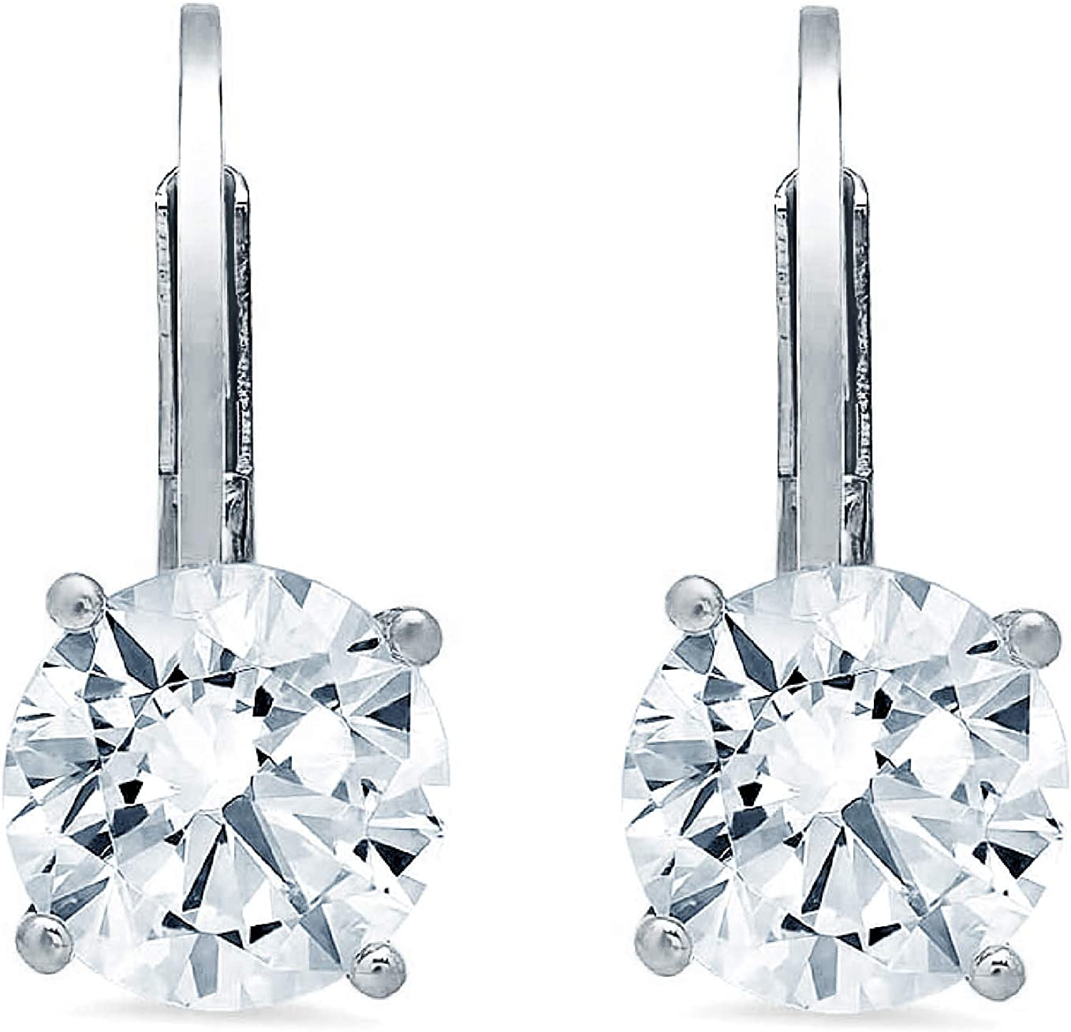Clara Pucci 2.80 CT Brilliant Round Cut Conflict-Free VVS1 Ideal Gemstone Birthsone designer CZ Solitaire Drop dangle Lever Back Earrings Solid 14k WHITE Gold