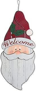 DII Indoor/Outdoor Hanging Santa Wooden Sign to Celebrate the Holidays, Wooden Wall & Door Decoration - Santa Welcome