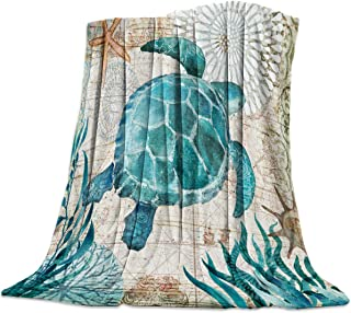 Savannan Fleece Throw Blanket for Couch/Bed Cozy Super Warm Soft Microfiber Fuzzy Flannel Blanket for Adults Kids,Sea Turtle Ocean Animal Landscape 40