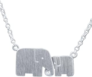 925 Sterling Silver Handmade Elephant Pendant Necklace, 17.5