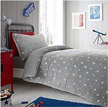 Gaveno Cavailia Easy Care Teddy Stars Glow Flurosent Duvet Cover, Fluffy Fleece Bedding, Warm & Cosy Quilt Set, Grey, Doub...