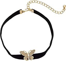"12"" Black Velvet Choker with Gold and Crystal Butterfly Front and 4"" Extender Chain Necklace"