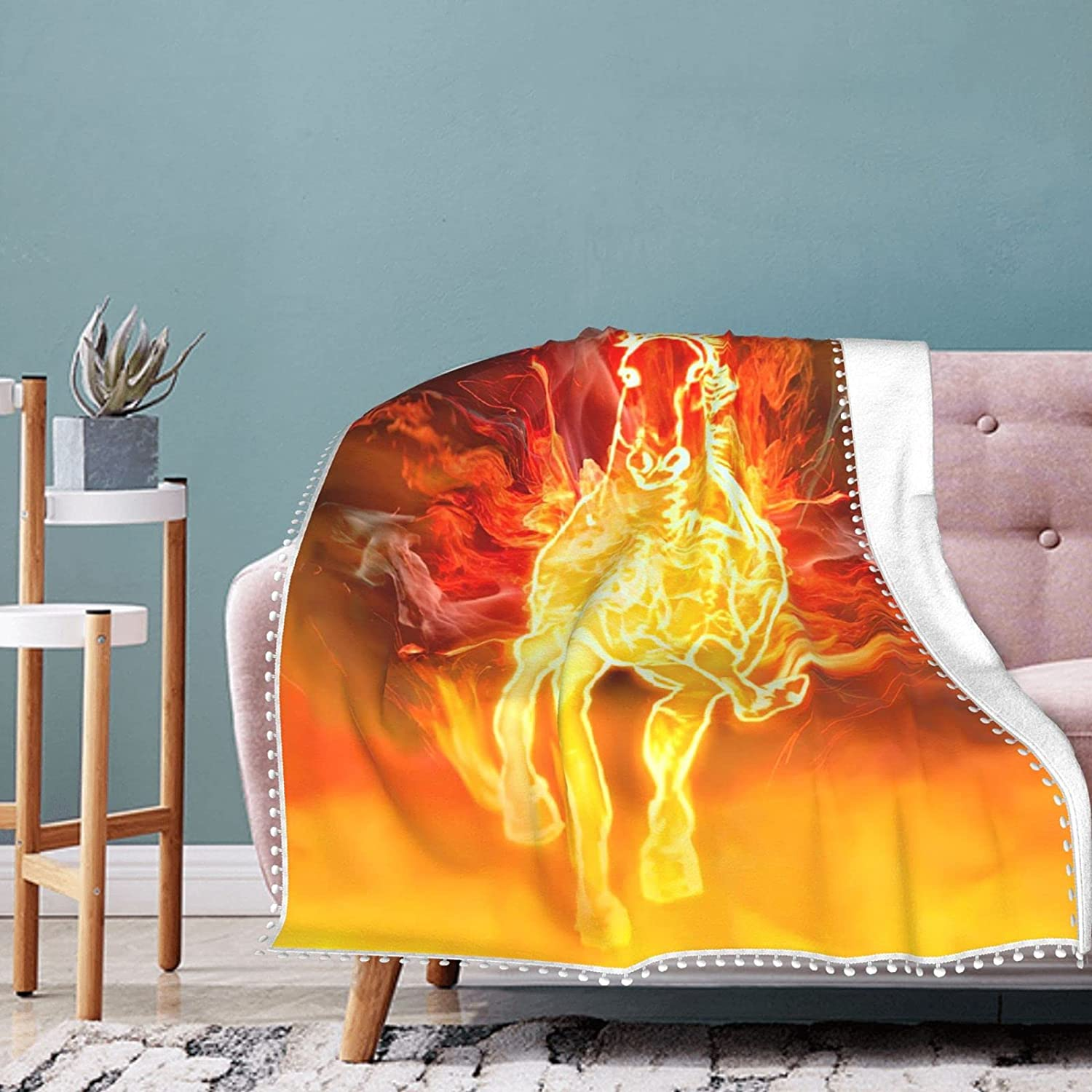 Red Flame Horse Fleece Blanket with Summer Fringe Air Cheap bargain Pompom Co Max 49% OFF