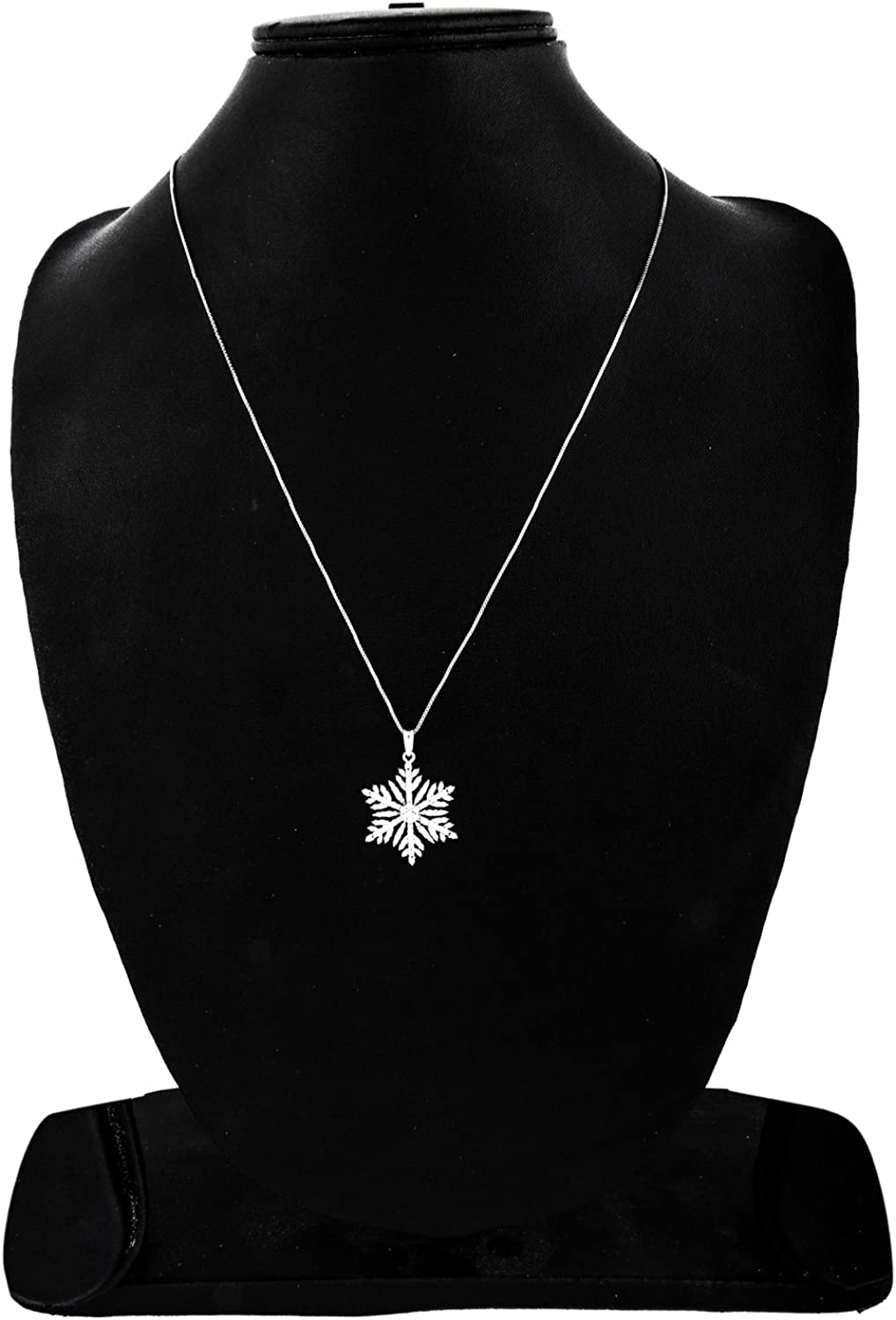 1 2CT TW Diamond Sterling Silver Snowflake Pendant along with 18 inches Chain