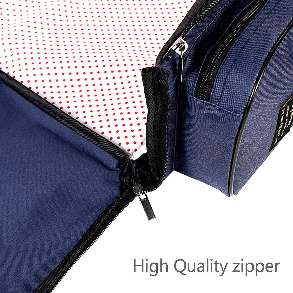 3 in 1 Universal Baby Travel Bag Portable Bassinet Crib Foldable Baby Bed Diaper Bag Changing Station Seat Tummy Time Folding Crib Nursery The Best for New mom and dad (Blue)