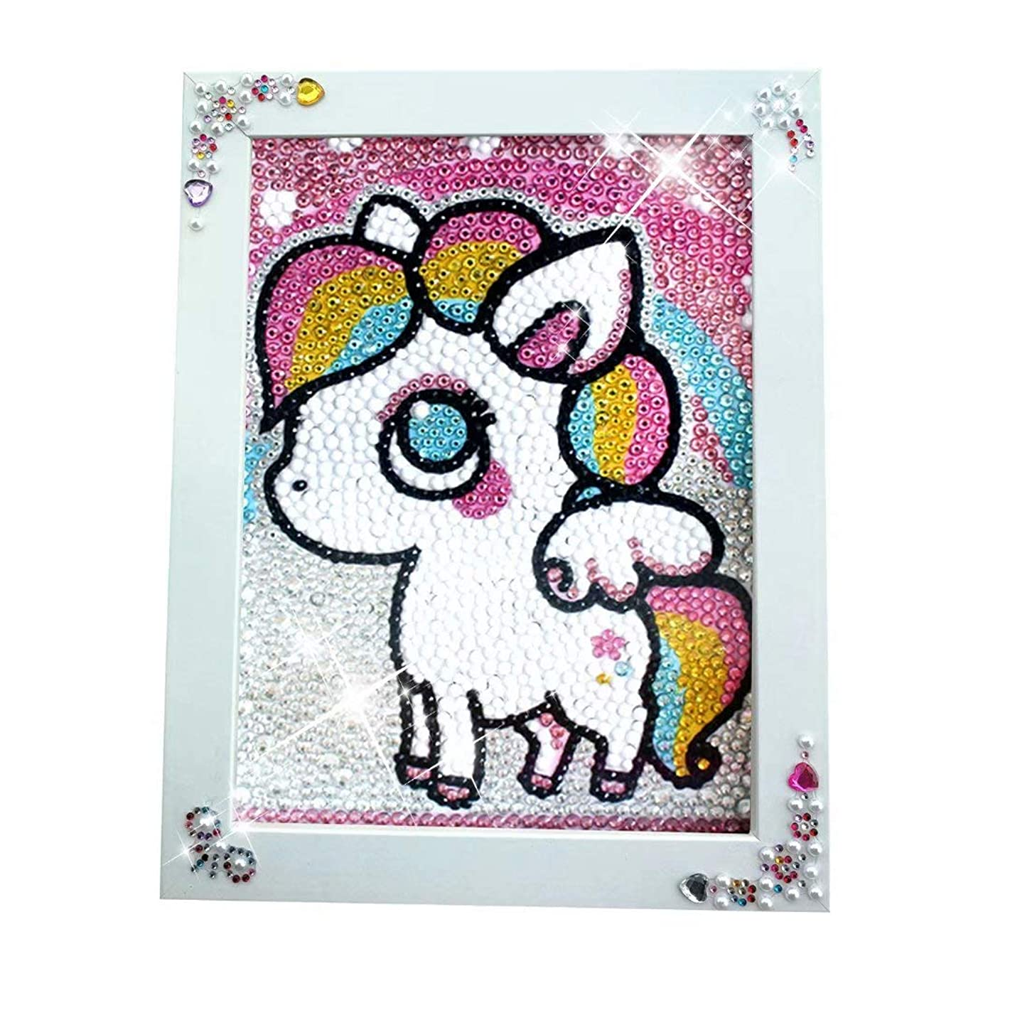 qiaoniuniu Pony Diamond Painting for Kids Full Drill Painting by Number Kits , Unicorn Toys, Arts Crafts Hobby Supply Set, Rhinestone Mosaic Making Gifts for Christmas Birthday -Include Wooden Frame