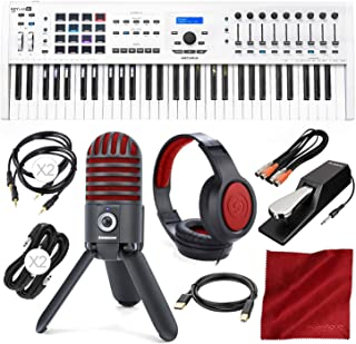 Arturia KeyLab MKII 61 Professional MIDI Keyboard Controller and Software (White) with USB Mic & Headphones Deluxe Bundle