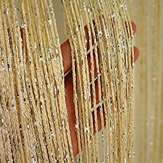 Duosuny 39x78 Inch Door String Curtain Rare Flat Silver Ribbon Thread Fringe Window Panel Room Divider Cute Strip Tassel for Wedding Coffee House Restaurant Parts (Pack of 2) (Champagne)