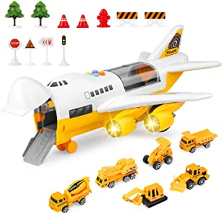 BAZOVE Car Toys Set with Transport Cargo Airplane, Educational Vehicle Construction Car Set for Kids Toddler Boys Child Gift for 3 4 5 6 Years Old, 6 Cars, Large Plane, 11 Road Signs