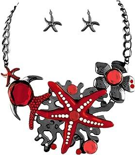 d5e7c1f5df8fdb Set extralarge di collana e orecchini con stella marina in cristallo  trasparente rosso corallo