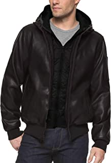 Men's Big and Tall Smooth Faux Leather Bomber Jacket with Double Hood