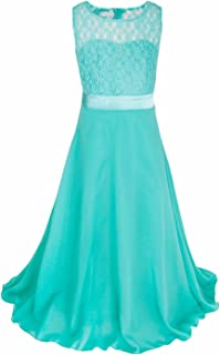 Big Girls Lace Chiffon Flower Girl Dress Wedding Prom Dance Ball Party Maxi Gown