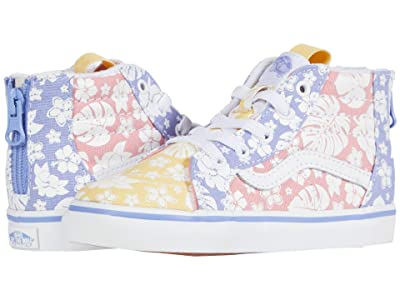 Vans Kids Sk8-Hi Zip (Infant/Toddler) ((Hawaiian Floral) Multi/True White) Girls Shoes