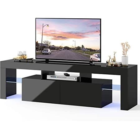 """TV Stand with LED Lights Mid Century Modern Wood High-Gloss TV Stand for 65/"""" Television Media Storage Console Cabinet Drawer and Shelves Entertainment Center Living Room Furniture US Fast Shipment"""