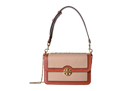 Tory Burch Chelsea Color Block Convertible Shoulder Bag (Devon Sand) Handbags