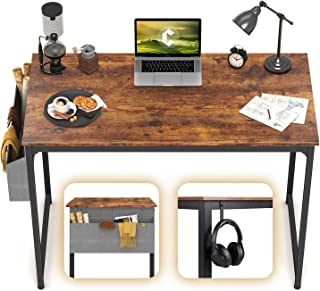 """CubiCubi Computer Desk 32"""" Study Writing Table for Home Office, Industrial Simple Style PC Desk, Black Metal Frame, Rustic"""
