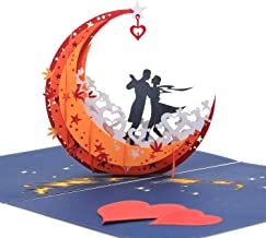 3D Anniversary Card - For Her, Him, Couple, Wife, Husband, Girlfriend, Boyfriend - A Dance on Moon Boat To The Edge Of The World - Anniversary Gifts for Her,Birthday Card,Valentines Day Card by AITpop