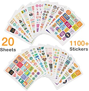 Planner Stickers 20 Sheets, Cute Scrapbook Stickers, Various Theme Monthly Weekly Daily Planner Sticker Set, Over 1,100 Stickers for Planners, Calendar, Bullet Journal
