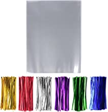 200 Pcs 9'' x 12'' Clear Cello Cellophane Treat Bags - 1.4mil thickness OPP Plastic Bags with 6 Mix Colors Twist Ties Perfect for Wedding Party Cookie Candy Buffet Supply (9'' x 12'')