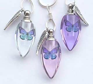 Cremation Urn Bead Butterfly Angel Wing Sympathy Gift Sterling Silver Necklace