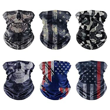 [6PACK]Flag Face mask,Skull Face Mask,Ice Silk Cooling Sports Face Scarf for Dust Outdoors,3D Tube Durable Bandana Face Mask for Motorcycle Cycling,Headwrap Neckwarmer & More