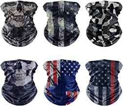 [6PACK]Flag Face mask,Skull Face Mask,Ice Silk Cooling Sports Face Scarf for Dust Outdoors,3D Tube Durable Bandana Face Ma...