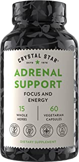 Crystal Star Adrenal Support Supplement (60 Capsules) – Daily Herbal Cortisol Supplement for Stress Relief & Adrenal Fatig...