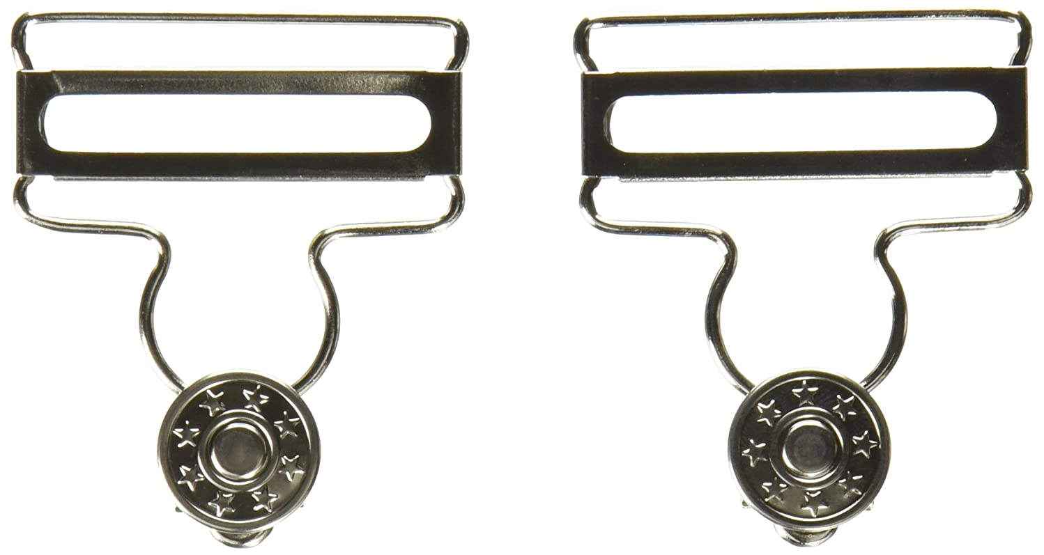 Dritz 88-65 Overall Buckles with No-Sew Buttons for 1-5/8-Inch, Nickle 2-Count