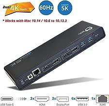 SIIG USB Type C 4K Dual Monitor Docking Station - Dual 4K@60HZ or Single 5K@60Hz Video Laptop Dock - Thunderbolt 3 Compatible (2 HDMI, 2 DisplayPort Outputs, Gigabit Ethernet, 6 USB 3.0 Ports)
