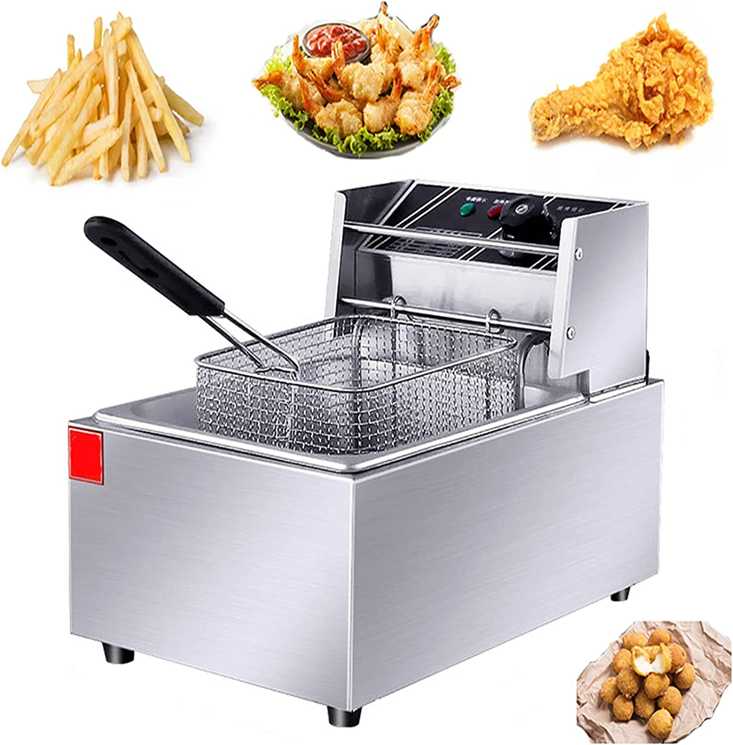 NEWTRY Commercial Deep Fryer Don't miss the campaign Special Campaign 6L 2500W Single-Cylinder Countertop