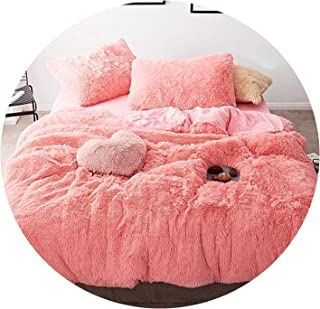 Pink White Fleece Fabric Winter Thick 20 Pure Color Bedding Set Mink Velvet Duvet Cover Bed Sheet Bed Linen Pillowcases 4/6pcs,17,Queen 4pcs
