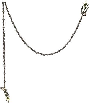 "Creative Co-Op 72"" L Paulownia Bead w/Faux Pine Greenery Tassel, Grey Wash Wood Garlands, Multi"