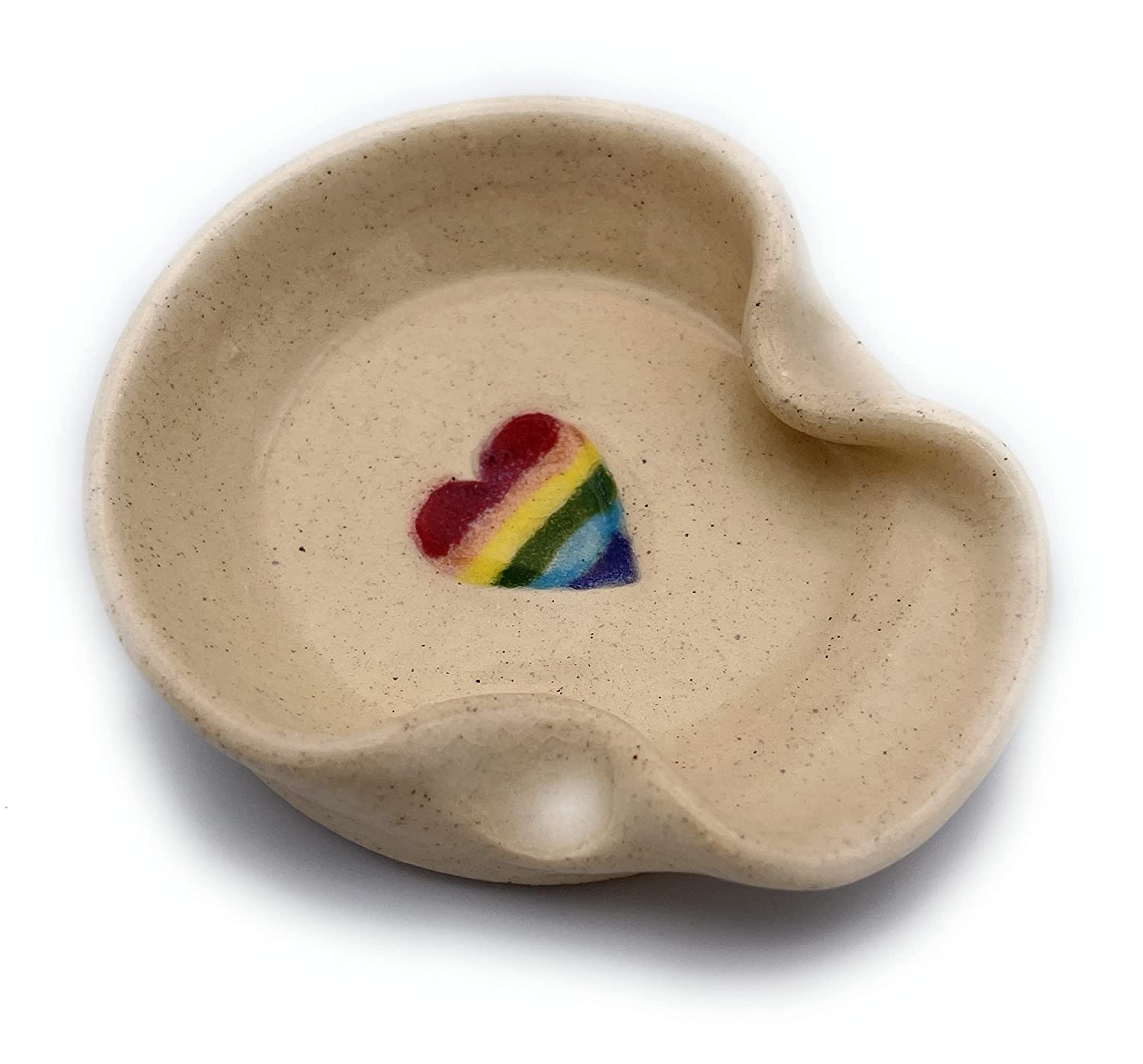 Teaspoon Rest MINI Ceramic Challenge the lowest price of Japan ☆ Spoon Cre with in Heart Nashville-Davidson Mall Rainbow