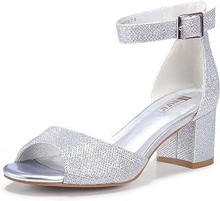 Women's Candie Low Block Heels Sandals Peep Toe Chunky...
