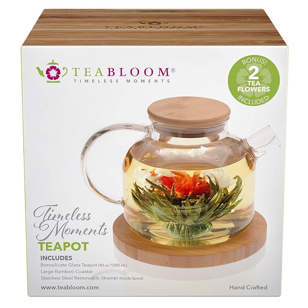 Teabloom Stovetop Safe Glass Teapot with Bamboo Lid (40oz/1200ml) + Loose Leaf Tea Filter Spout + 2 Blooming Teas + Large Bamboo Trivet/Coaster - Natural Flowering Tea Gift Set - Timeless Moments