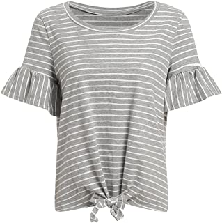 Romwe Women's Short Sleeve Tie Front Knot Casual Loose Fit Tee T-Shirt