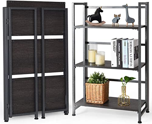 """high quality Giantex 3-Tier Folding Bookshelf Standing Shelf Units Display Rack Storage Shelf Industrial Style Utility lowest Shelving with Metal Frame & Wood Layer (Gray, 23.5"""" LX12 outlet sale WX37 H) outlet online sale"""