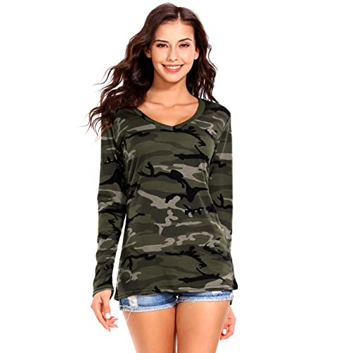 03a477f13f ISASSY Womens Casual V Neck Long Sleeve Camouflage T Shirt Tops Blouse