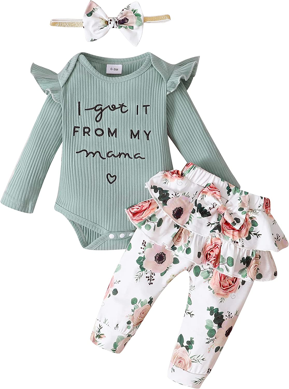 Newborn Infant Baby Girl Clothes Romper Onesie Pants Set Floral Outfits Cotton Newborn Girl Outfits