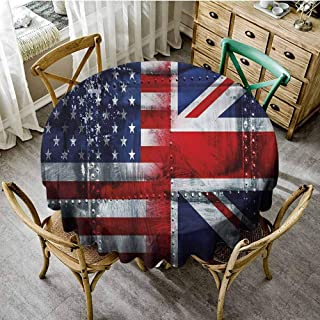 ScottDecor Union Jack Fabric Tablecloth Alliance Togetherness Theme Composition of UK and USA Flags Vintage Overlay Round Tablecloth Navy Blue Red White Diameter 54