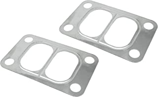 PitVisit PV Raceworks T3 Divided T3/T4 Turbo Turbine Inlet Twin Scroll 4 Bolt Gasket Stainless Steel Compatible with Garrett Precision PTE Turbonetics Turbocharger (2 Pack)