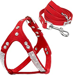 Beirui Soft Suede Rhinestone Leather Dog Harness Leash Set Cat Puppy Sparkly Crystal Vest & 4 ft Lead for Small Medium Cat...