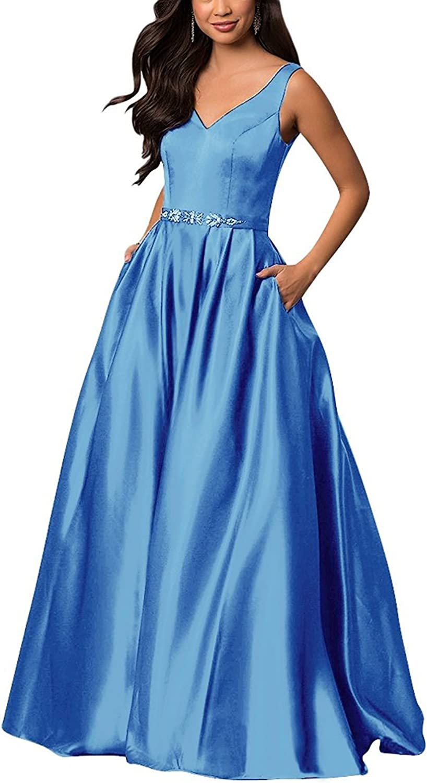 Ellystar Women's V Neck Satin Sleeveless Luxury Aline Zipper Prom Party Dresses