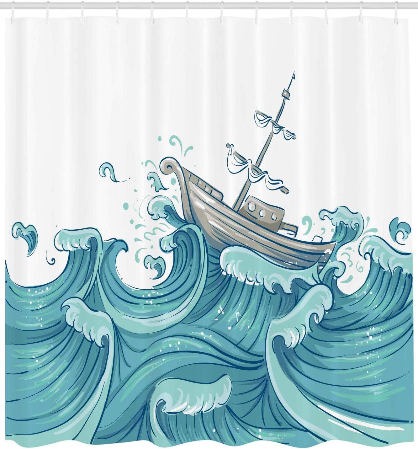 Ocean Shower Curtain Music Nautical Melody Print for Bathroom