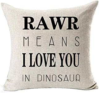(1) - Cotton linen Quote Letters RAWR MEANS I LOVE YOU IN DINOSAUR Throw pillow case Cushion cover pillowcase for Sofa hom...