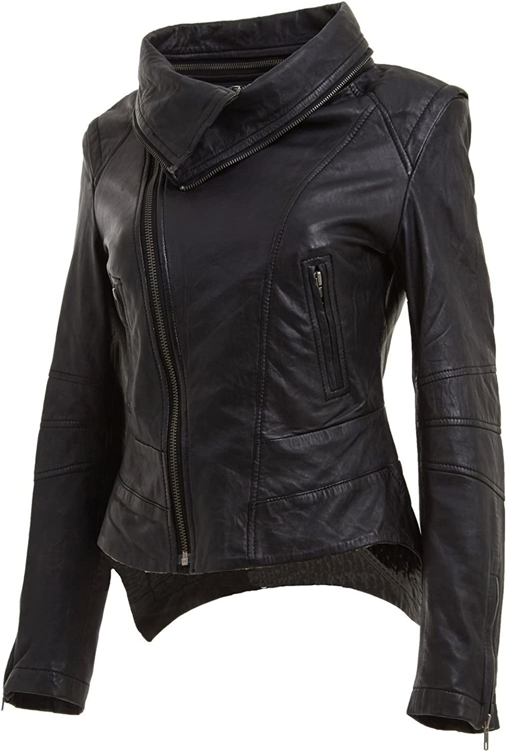 Our shop OFFers the best service Leather Hubb Black Women's Snapdragon Motorcycle Moto Translated Leat Biker